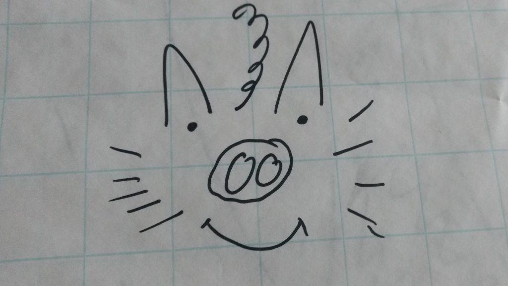 Das Bild zeigt ein selbstgezeichnetes Gesicht, bestehend aus einer Schweineschnauze, Hundeohren und einer Rute. Es soll den inneren Schweinehund darstellen.