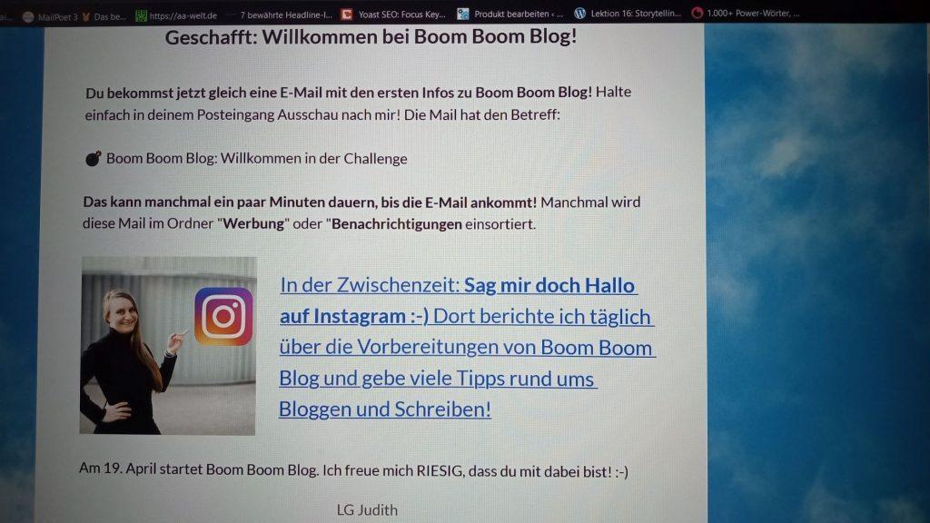 Monatsrückblick Mai 2021 in Bildern: Boom Boom Blog. Das Foto zeigt Judith Peters und ihre Ankündigung zur Challenge.