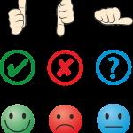 Drei Möglichkeiten des Feedback: Positiv, negativ, fragend