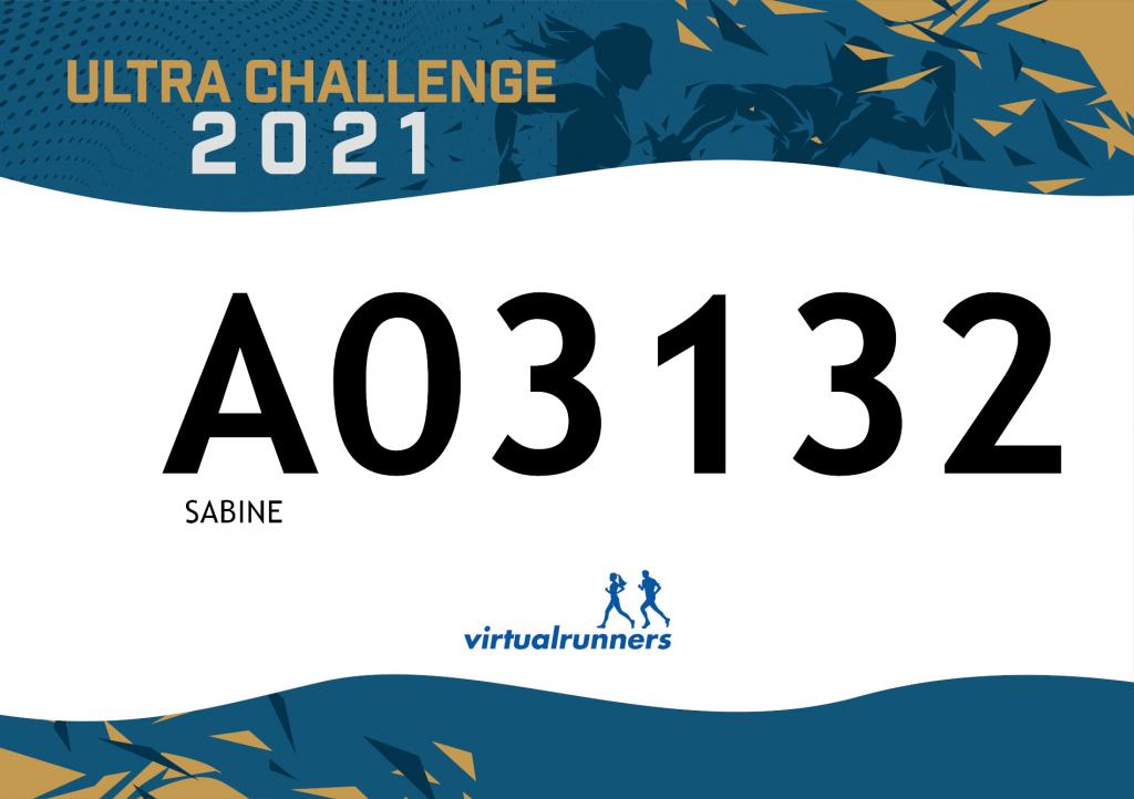 Die Startnummer von Sabine Scholze für dieUltra Challenge 2021