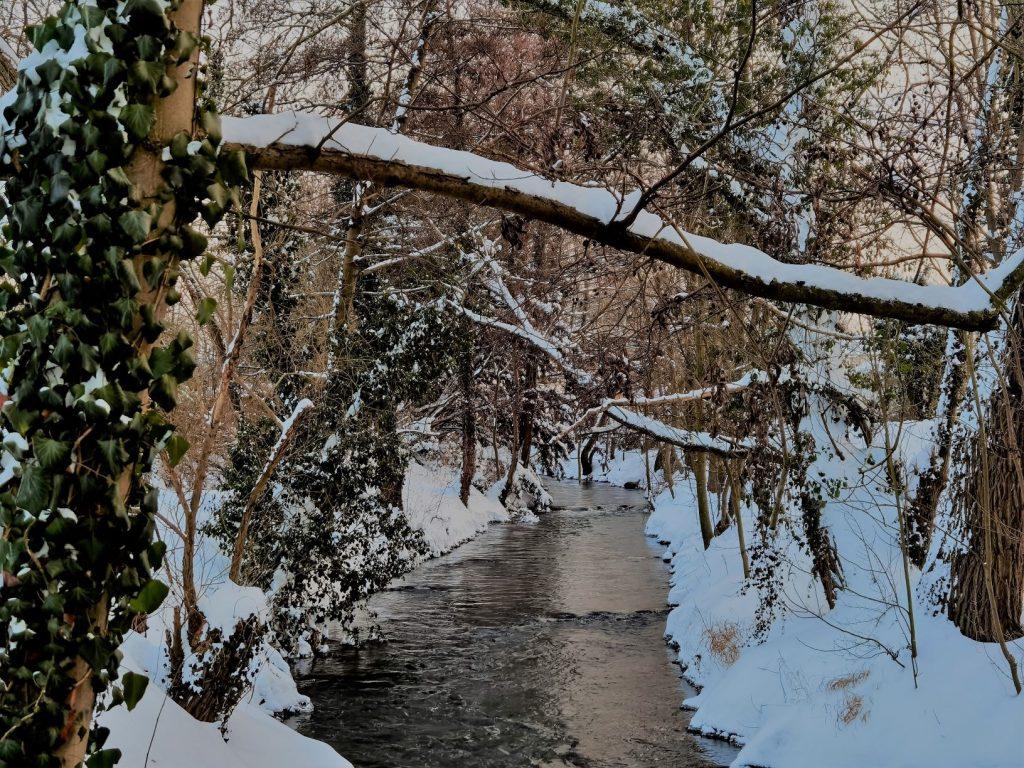 Als ich dieses Schneeballgedicht geschrieben habe, lag tatsächlich Schnee - so wie auf diesem Foto eines Bachlaufes mit schneebedecktem Ufer.