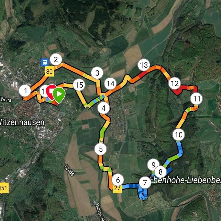 Mein langer Lauf als Aufnahme aus Google-Maps: Er führte über Witzenhausen, an der Werra entlang, auf die Ebenhöhe und an Unterrieden vorbei zurück.